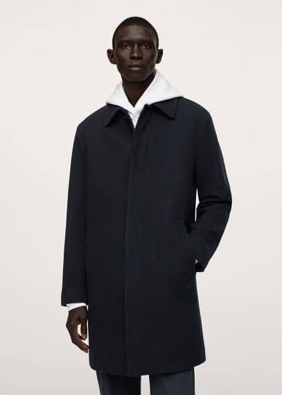 Мужские пальто Mango (Манго) Непромокаемое пальто из шерсти - Ground