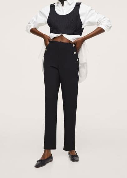 Женские брюки Mango (Манго) Укороченные брюки с пуговицами - Dorado