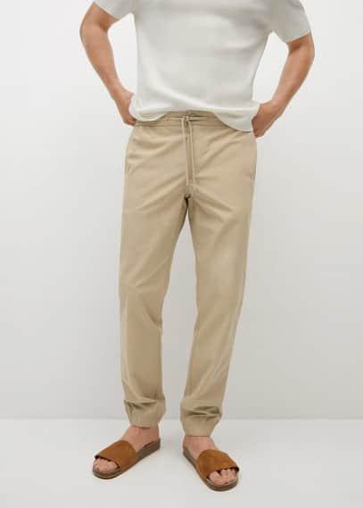 Мужские брюки Mango (Манго) Брюки-джоггеры из хлопка Tencel - Roma