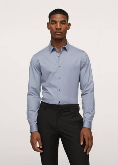 Рубашка Mango (Манго) Костюмная рубашка slim fit из хлопка-стретч - Fabre