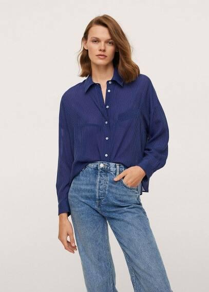 Женские рубашки с длинным рукавом Mango (Манго) Рубашка с узором в полоску - Roca-i