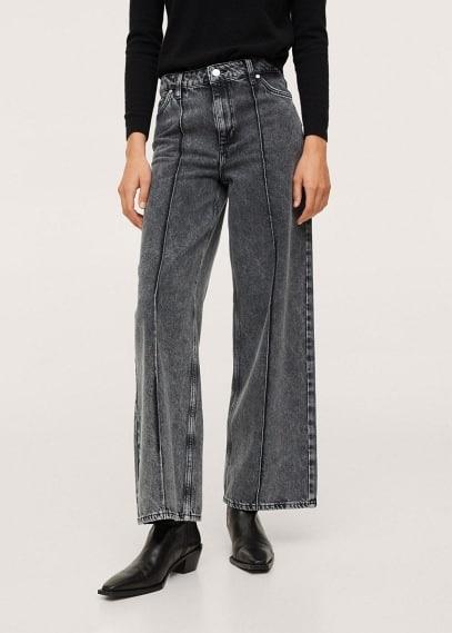 Широкие и расклешенные джинсы Mango (Манго) Джинсы-кюлоты со швом - Lauren