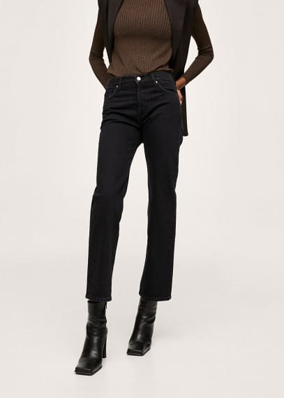 Прямые джинсы Mango (Манго) Прямые джинсы с завышенной талией - Premium