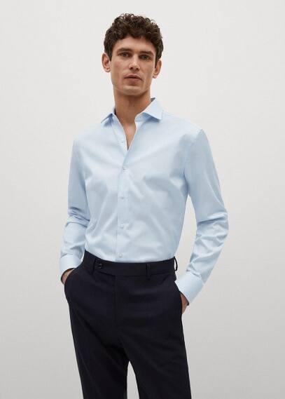 Рубашка Mango (Манго) Рубашка Tailored slim fit с фактурной выделкой - Emporda