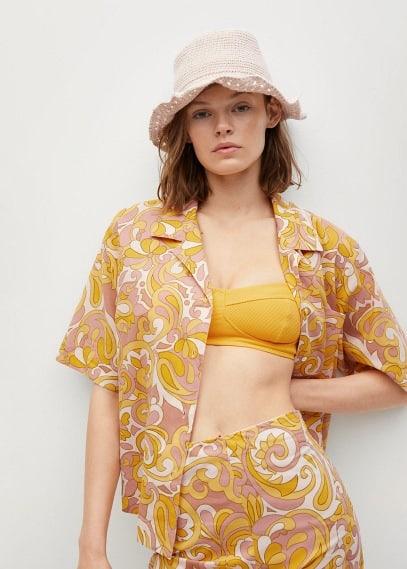 Блуза Mango (Манго) Принтованная рубашка из хлопка - Espuma