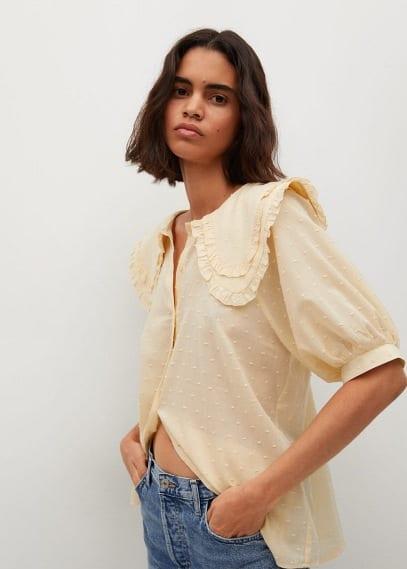Блуза Mango (Манго) Блузка с круглым воротничком - Amarilla