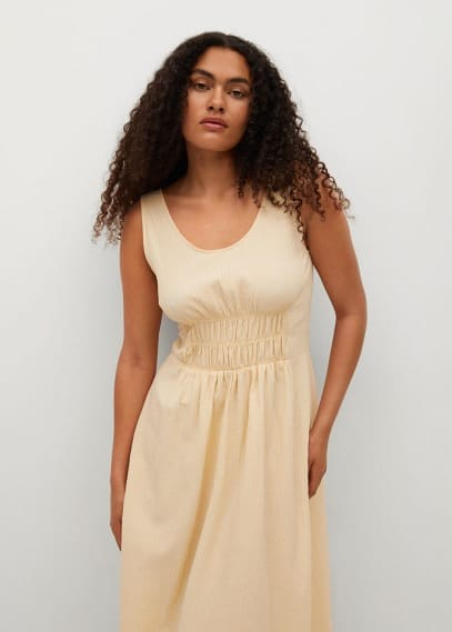 Платье Mango (Манго) Фактурное платье из хлопка - Cream