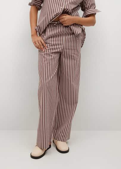 Женские брюки Mango (Манго) Хлопковые брюки с принтом - Vera-i