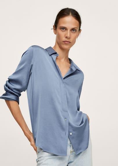 Блуза Mango (Манго) Струящаяся рубашка с атласным блеском - Ideale