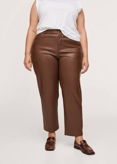 Женские брюки Mango (Манго) Прямые брюки из искусственной кожи - Antua
