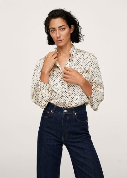 Блуза Mango (Манго) Блузка с принтом и воланами - Pixie