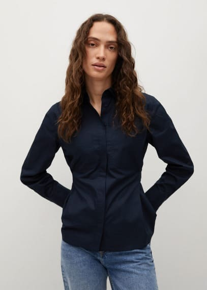Женские рубашки с длинным рукавом Mango (Манго) Хлопковая рубашка с защипами - Tallo-h