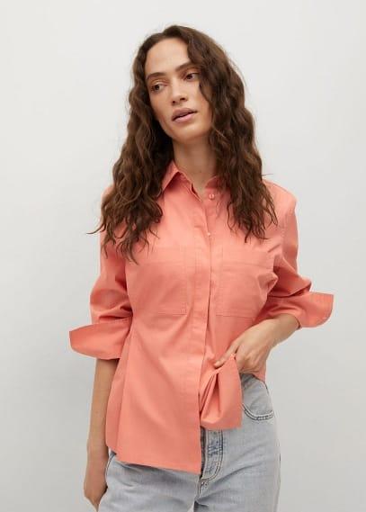 Блуза Mango (Манго) Хлопковая рубашка с защипами - Tallo-h