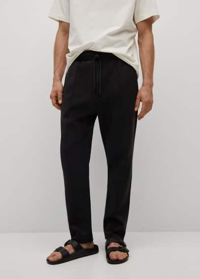 Мужские брюки Mango (Манго) Брюки-джоггеры из хлопка - Juniusp
