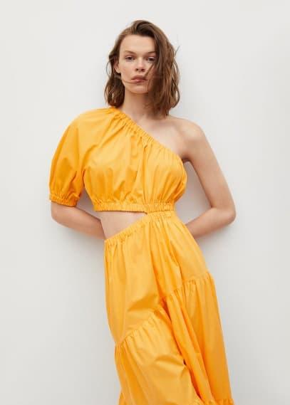 Платье Mango (Манго) Хлопковое платье с разрезом - Nieves