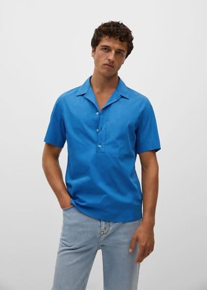 Рубашка Mango (Манго) Рубашка regular-fit с воротником боулинг - Claret