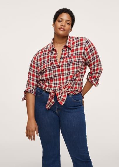Рубашка Mango (Манго) Клетчатая рубашка с карманами - Rojo