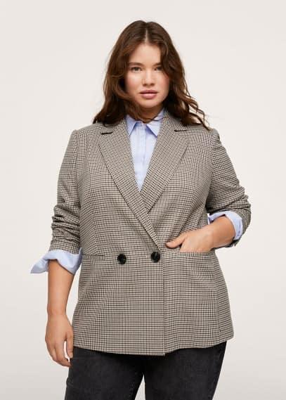 Куртка Mango (Манго) Пиджак с запáхом в клетку - Charlott