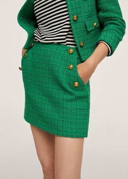 Прямая юбка Mango (Манго) Трикотажная юбка с пуговицами - Wintour