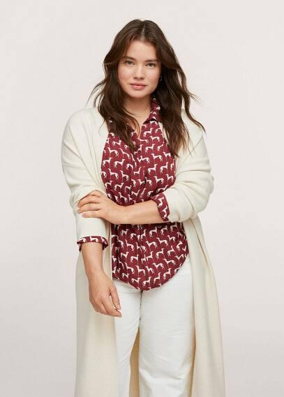 Рубашка Mango (Манго) Струящаяся блузка с принтом - Maos1