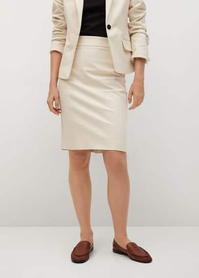 Прямая юбка Mango (Манго) Хлопковая юбка-карандаш - Cofi7-a