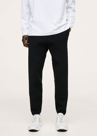 Мужские брюки Mango (Манго) Брюки-джоггеры из трикотажа-стретч - Luxusj