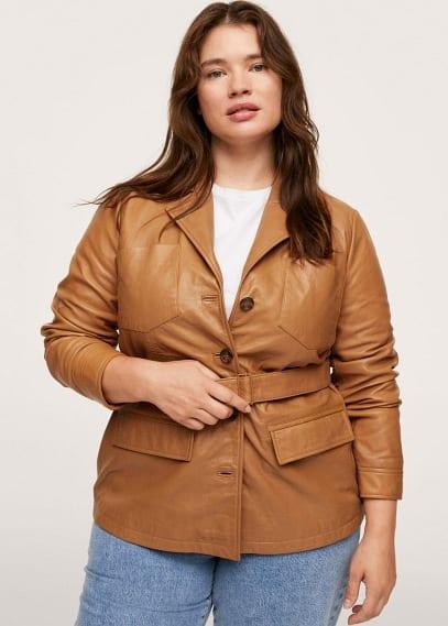 Куртка Mango (Манго) Кожаная куртка с поясом - Isabel1