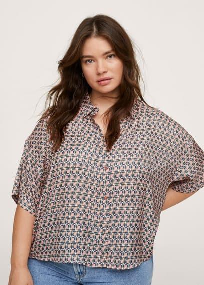 Рубашка Mango (Манго) Струящаяся блузка с принтом - Campari