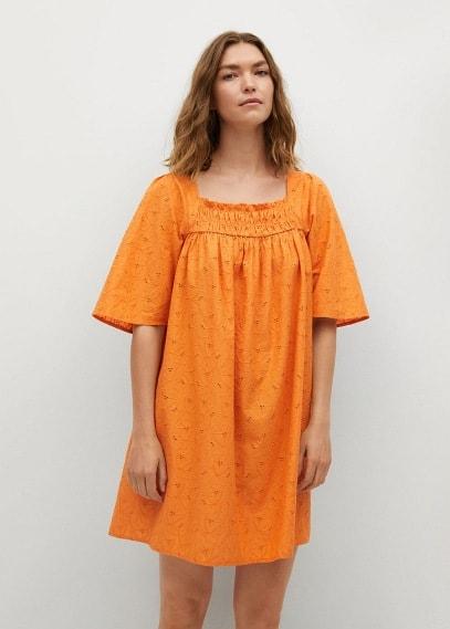Платье Mango (Манго) Фактурное платье из хлопка - Mexico