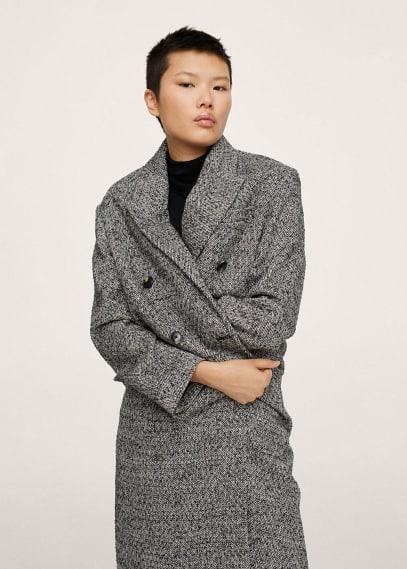 Женская верхняя одежда Mango (Манго) Пальто с пуговицами, шерсть - Piano