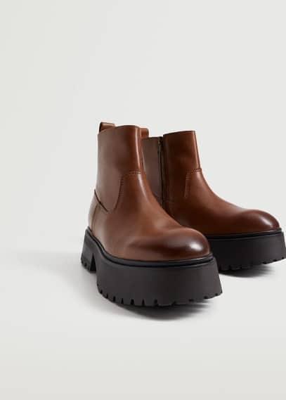 Женские ботинки Mango (Манго) Кожаные ботинки на платформе - Easy