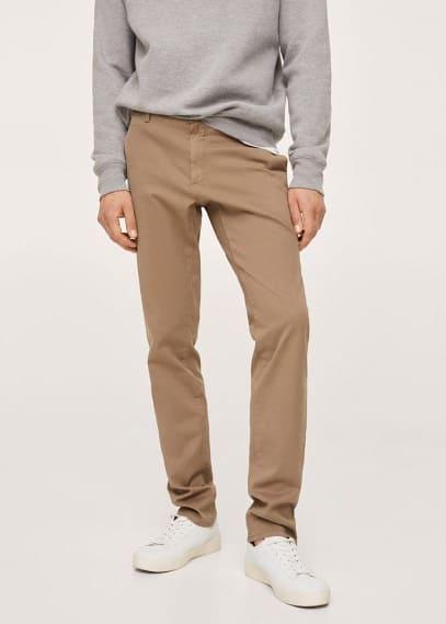 Мужские брюки Mango (Манго) Брюки-чинос slim fit из саржи - Barna