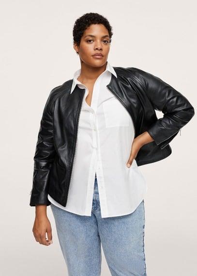 Куртка Mango (Манго) Кожаная куртка с карманами - Chelsea1