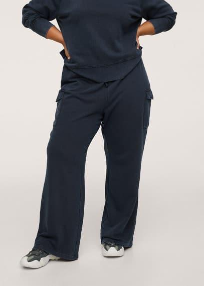 Женские брюки Mango (Манго) Хлопковые брюки с карманами - Detroit