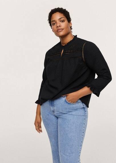 Рубашка Mango (Манго) Полупрозрачная хлопковая блузка в крапинку - Bolitas