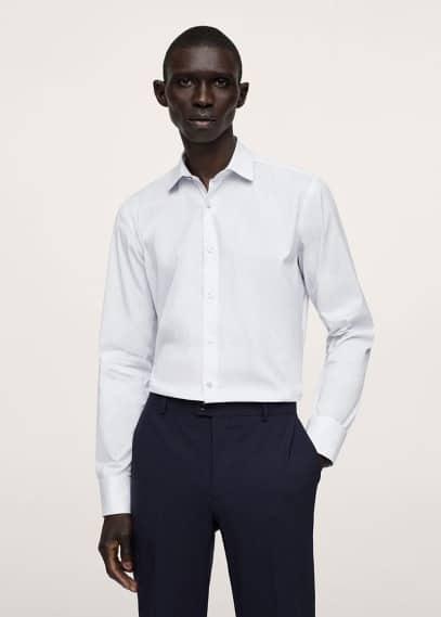 Рубашка Mango (Манго) Костюмная рубашка slim fit из хлопка в полоску - Bredag