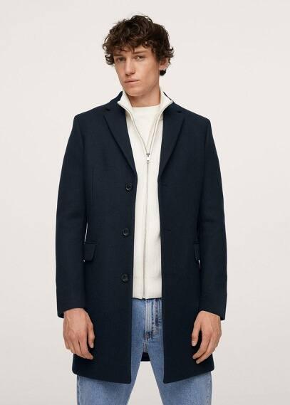 Мужские пальто Mango (Манго) Длинное пальто из переработанной шерсти - Arizona
