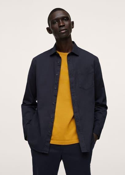 Рубашка Mango (Манго) Хлопковая рубашка regular fit с карманом - Lumiere