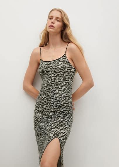 Платье Mango (Манго) Трикотажное платье с разрезом - Cebrian
