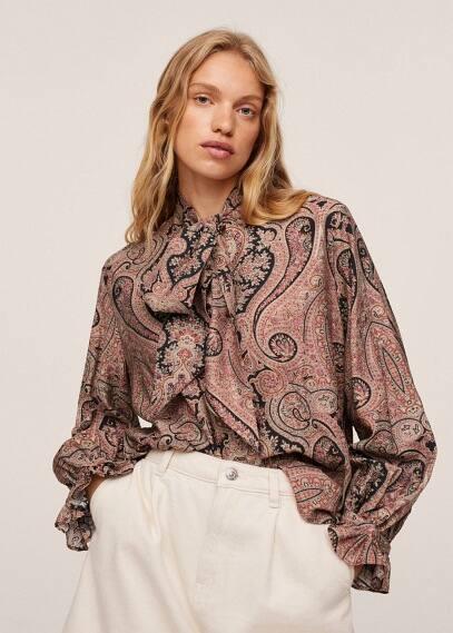Блуза Mango (Манго) Блузка с завязками - Fire