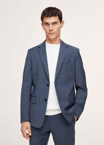 Пиджак Mango (Манго) Костюмный пиджак slim fit из шерсти в клетку - Breda