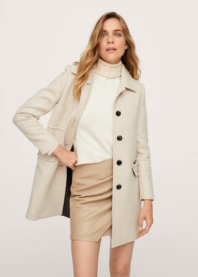 Женская верхняя одежда Mango (Манго) Пальто с карманами шерсть - Brigitte