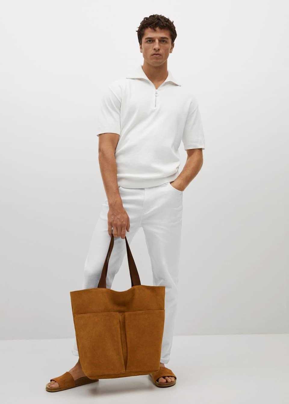 Suede tote bag for men from Mango | Vanityforbes