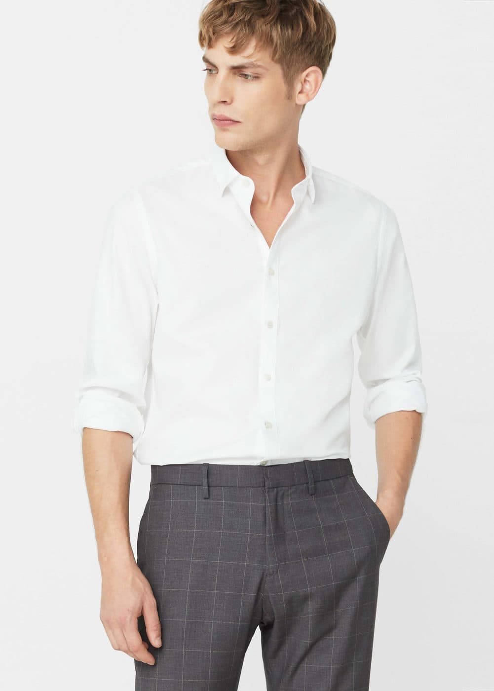 Slim-fit cotton piqué shirt | MANGO MAN