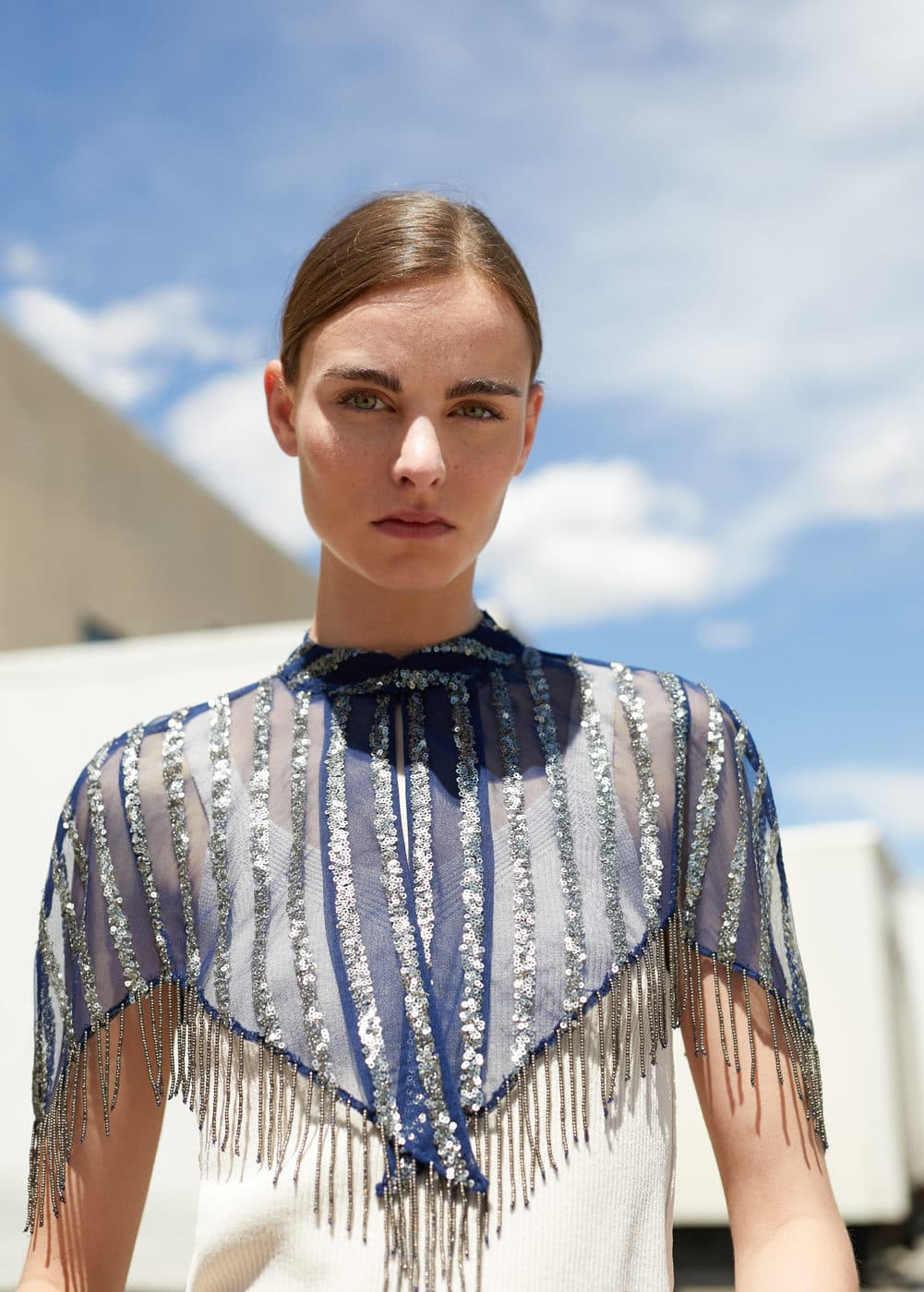 Sequined embroidery cape | MNG