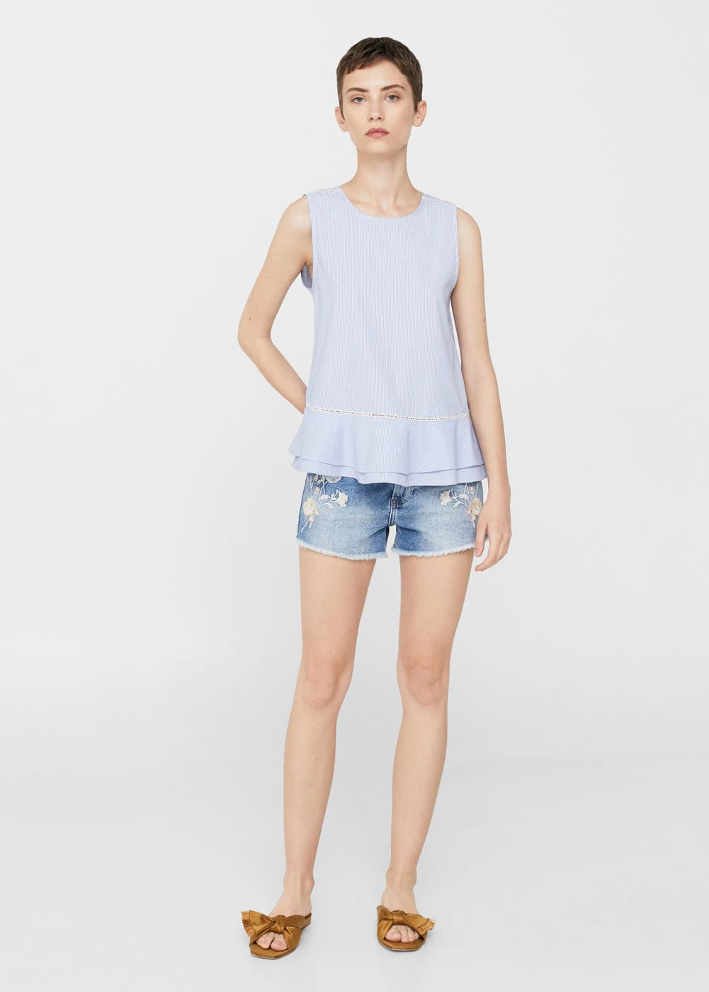 Embroidered denim short | MNG