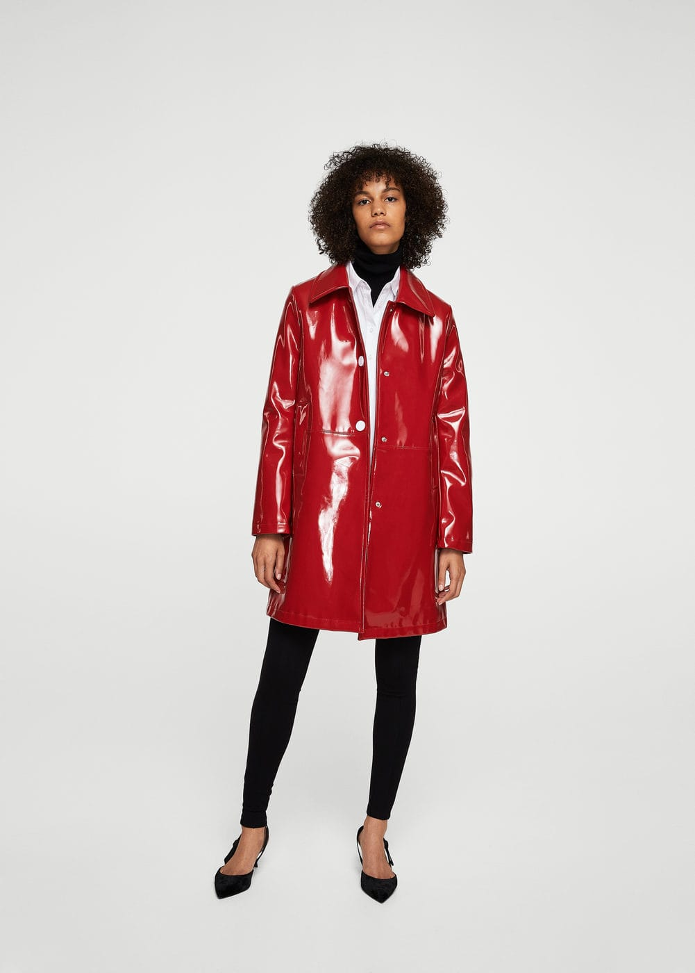 Buttoned vinyl trench | MANGO