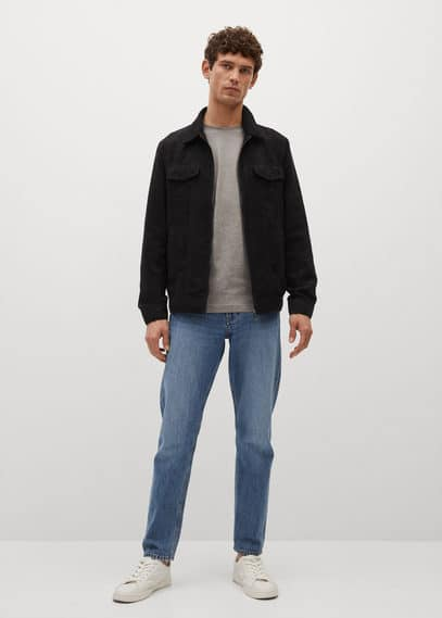Suede effect jacket black