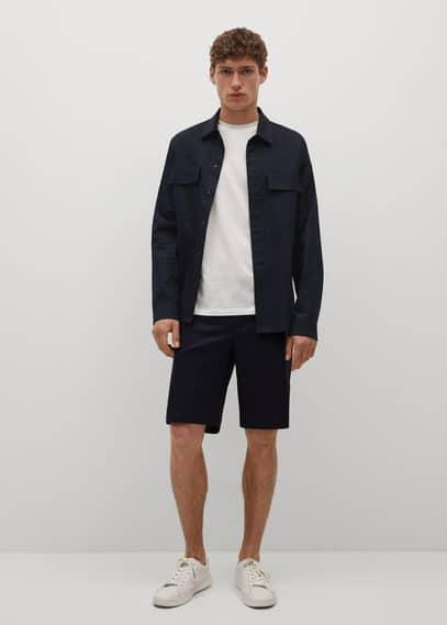 Lyocell linen overshirt with pockets dark navy