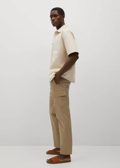 Cotton cropped cargo pants khaki